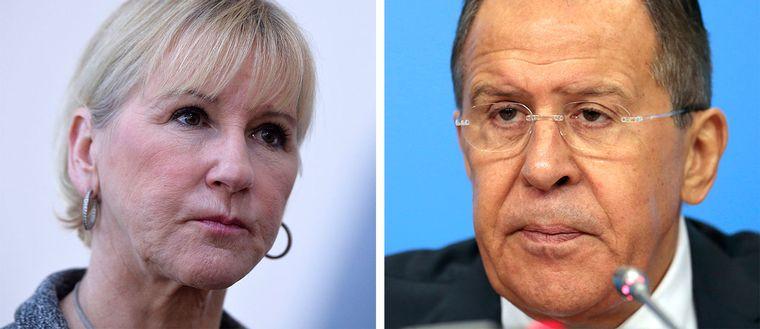 Vänster: Margot Wallström (S). Höger: Rysslands utrikesminister Sergeij Lavrov.