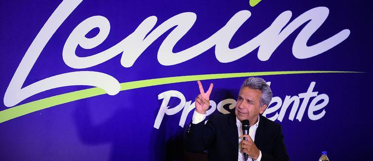 Det var en glad Lenin Moreno som på valdagen mötte sina anhängare på ett hotell i Quito.