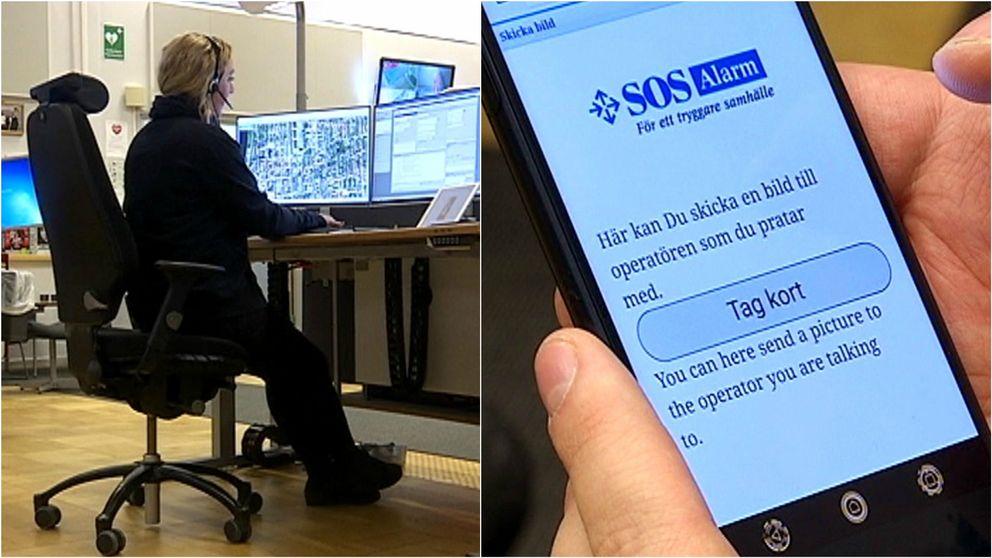 SOS Alarm-operatör, och en mobiltelefon