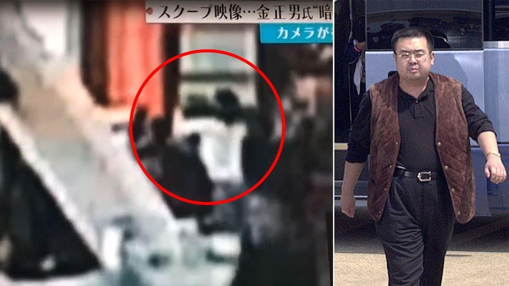 Övervakningsbilder från lokal-tv-stationen Fuji TV sägs visa hur Kim Jong-Uns halvbror förgiftas på Malaysias flygplats.