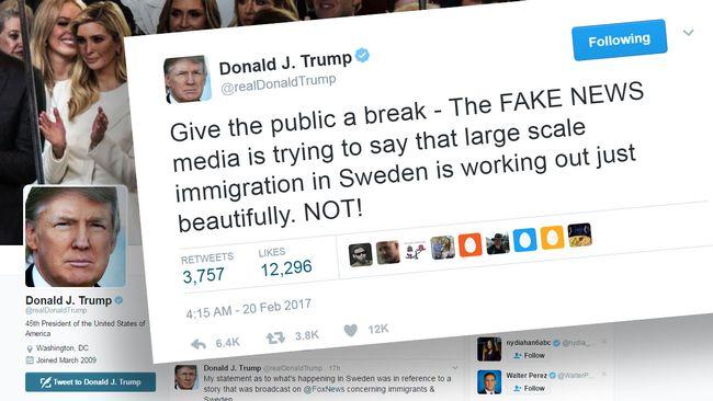 Trump fortsätter att twittra om Sverige