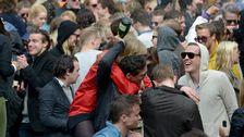 Champagnegalopp på Stockholms nation på sista april i Uppsala.