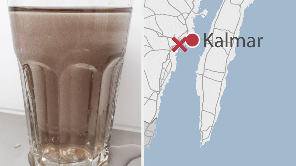 Missfärgat vatten i glas och en karta