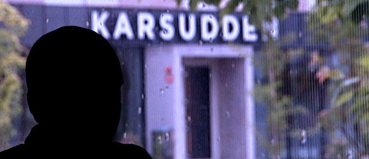 Silhuett av mördaren och bakom en bild på Karsuddens sjukhus.