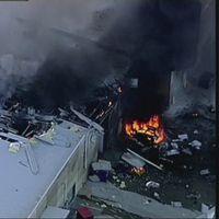Eldsvåda efter flygolyckan i Melbourne