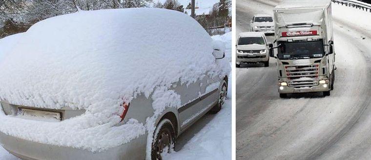 vintertrafik, snö, snöfall