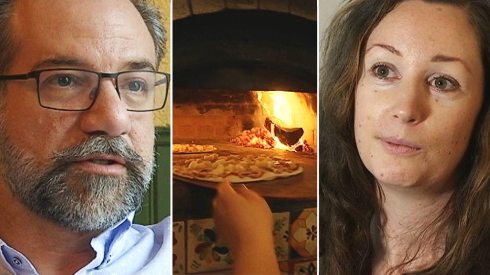 Pizzeriaägare Lorenzo Baniassadi/ vedeldad pizzaugn/ granne Camilla Jonsson