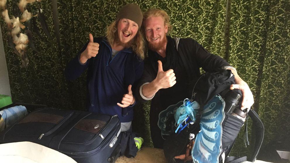 Liftarna Mathias Risberg och Tommie Gyllin.