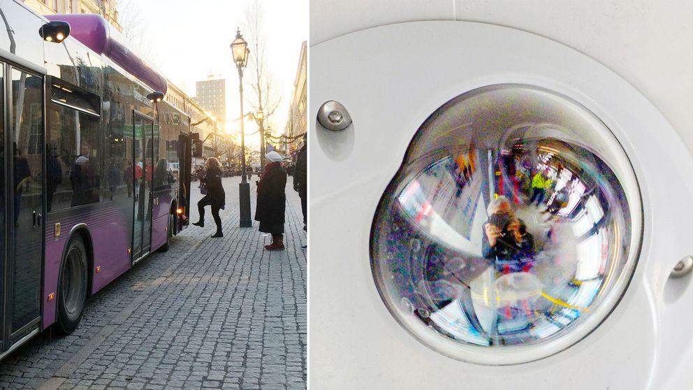 En buss och en övervakningskamera i montage