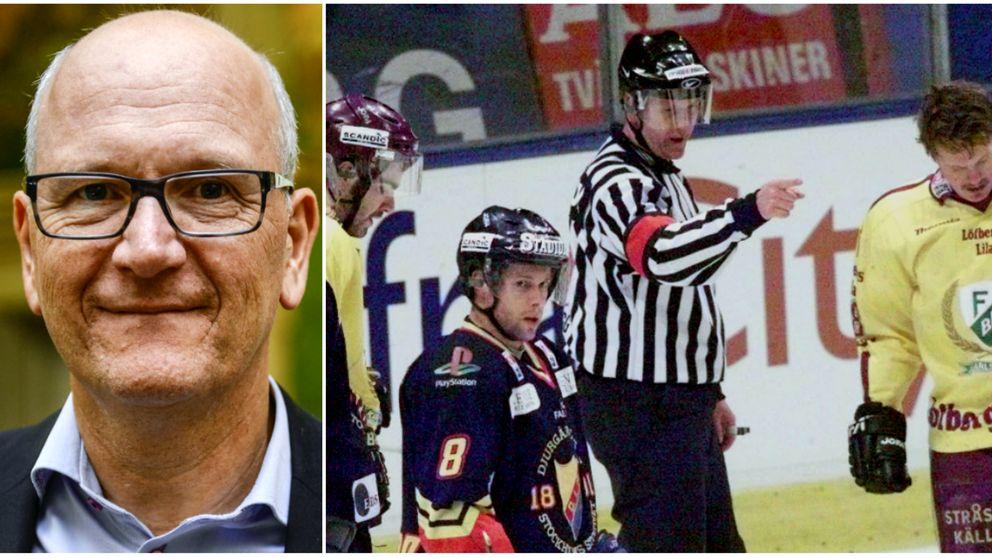Domarchefen Peter Andersson. Till höger i centrum under SM-finalen mellan Färjestad och Djurgården för över 15 år sedan.