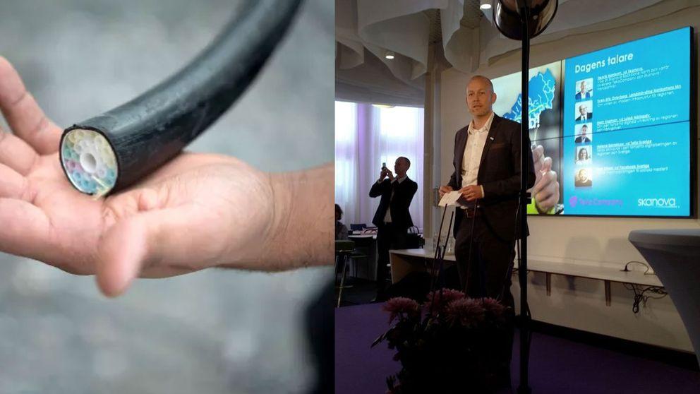 Bild på en fiberkabel och på en man på en presskonferens