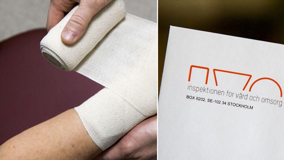händer som lindar om kroppsdel, papper med IVO-logotyp