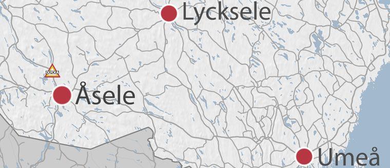 olycksplats på karta strax ovan Åsele