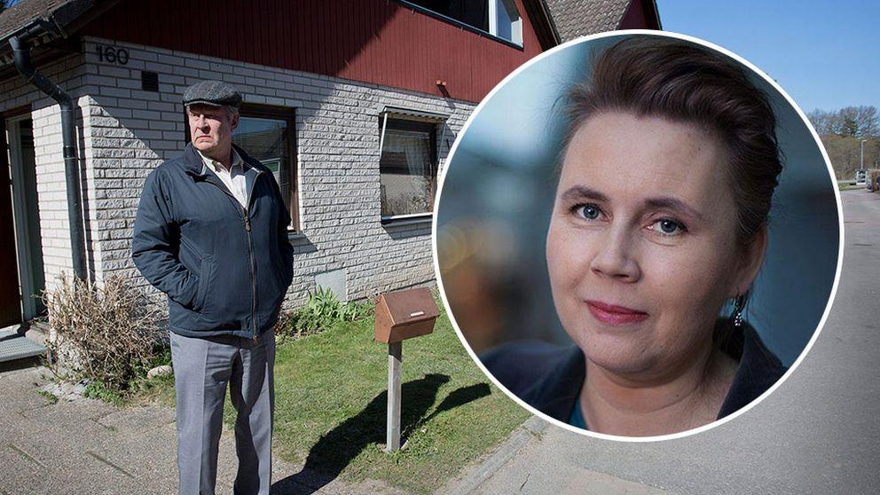 Rolf Lassgård som Ove och Ulrika Milles.