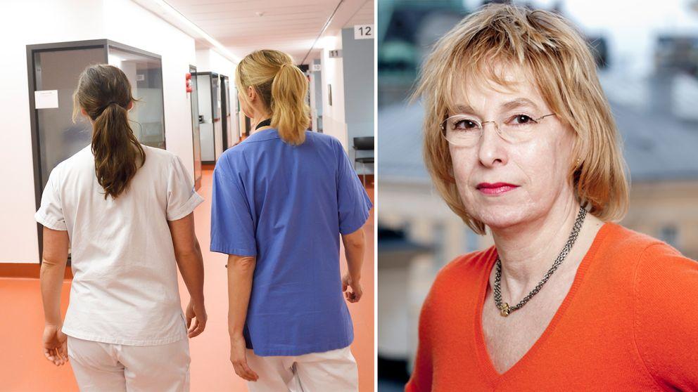 montage. till vänster bild från sjukhus till höger porträtt på Anna Rask-Andersen.