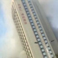 kollage på bilder från brand i skyskrapa. bilderna är i från kina.