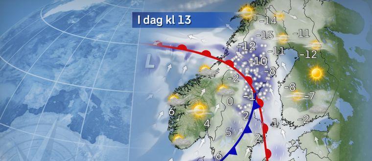 I dag: Snö i norr, senare även regn från sydväst Under dagen drar snön vidare norrut över Norrland, som kan få någon decimeter på sina håll. På eftermiddagen når sedan ett nytt regn in över sydvästra Sverige.