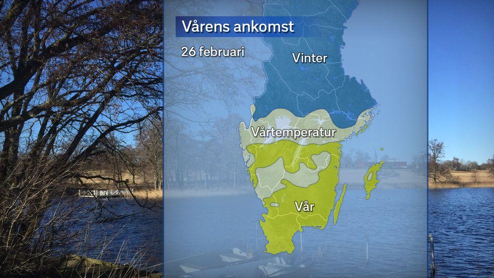 Vårens ankomst, där gult betyder att våren anlänt (sju dygn på raken med dygnsmedeltemperatur över 0 grader), vitt betyder vårtemperatur (dygnsmedeltemperatur över 0 grader) dygnet den 26 februari och blått betyder att det fortsatt råder meteorologisk vinter (dygnsmedeltemperatur under 0 grader).