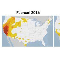 Till vänster: Torra områden i USA i februari 2016. Till höger: Torra områden i USA i februari 2017.