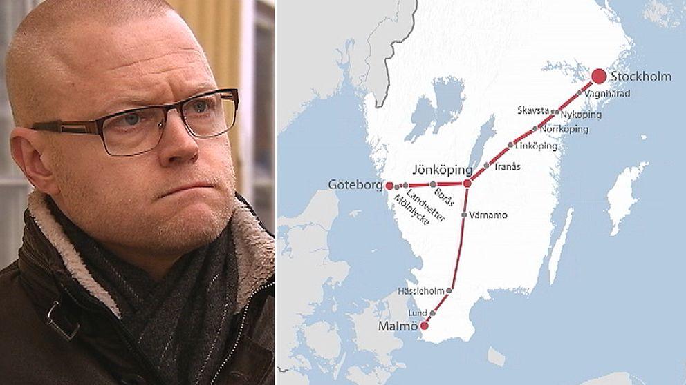 Mattias Josefsson (S). Karta över planerad järnvägsdragning.