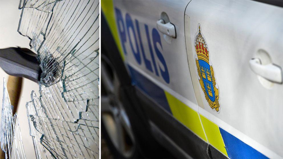krossad ruta och polisbil