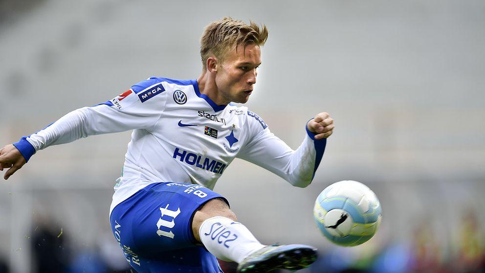 Nicklas Bärkroth gjorde det sista målet i den avgörande matchen mot Halmstad i dag.