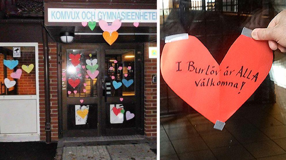 De kärleksbombar Komvux efter rasistiska lappar