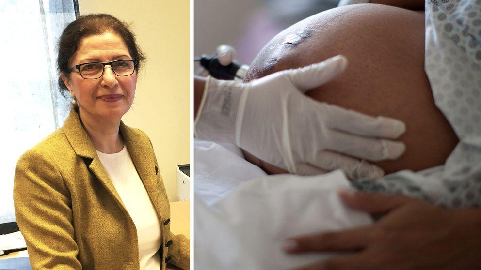 Till vänster kvinna med mörkt hår och glasögon. Till höger syns en gravid kvinnas mage. Hon blir undersökt på sjukhus.