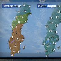 Till vänster: Högsta dagstemperatur en normal marsdag i mitten av månaden. Till höger: Normalt antal blöta dagar under mars månad.