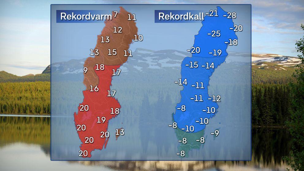 Till vänster: Högsta dagstemperatur en rekordvarm marsdag. Till höger: Högsta dagstemperatur en rekordkall marsdag.