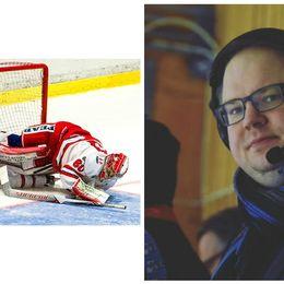 Fotokollage: Bild på Timrå IK-spelare till vänster, kommentaror till höger.