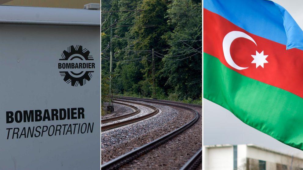 bombardier-logga, en järnväg och en flagga