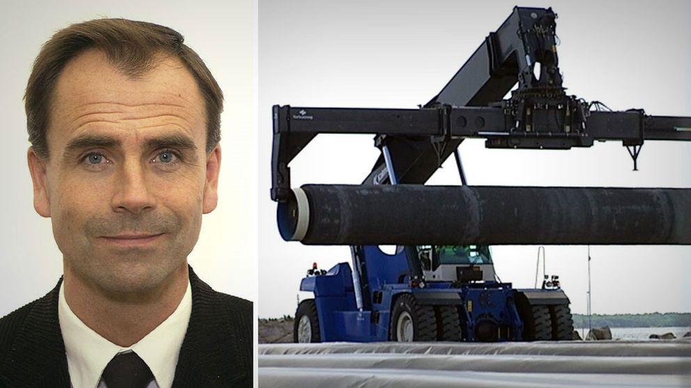 Försvarsutskottets ordförande Allan Widman (L) och bild på rör som lastas