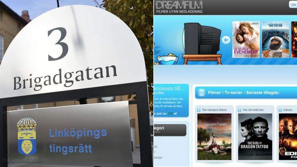 Skylt till vänster, skärmavbild från filmsajt till höger.