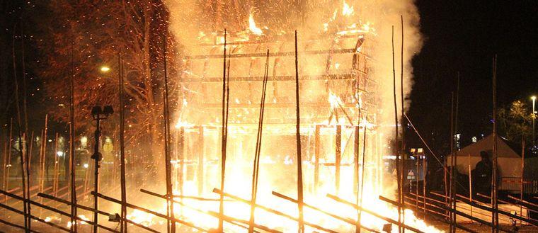 Gävlabocken i brand.