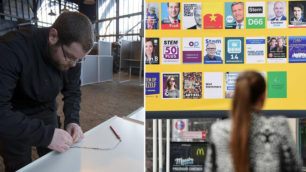 Valaffischer inför valet i nederländerna och en man som installerat ett valbås.