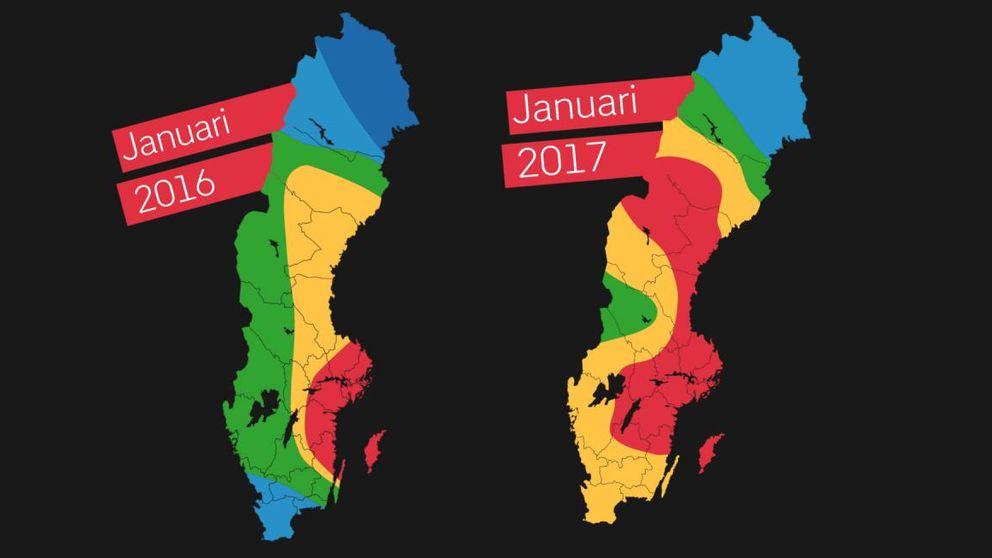 Två kartor i färgerna röd, orange, grön och blå.