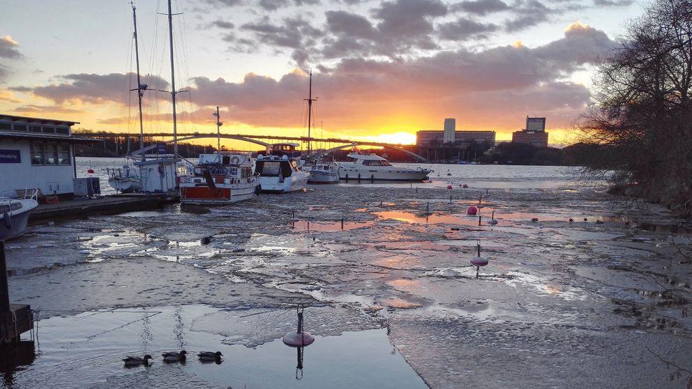 Solnedgång Norr Mälarstrand den 15 mars.
