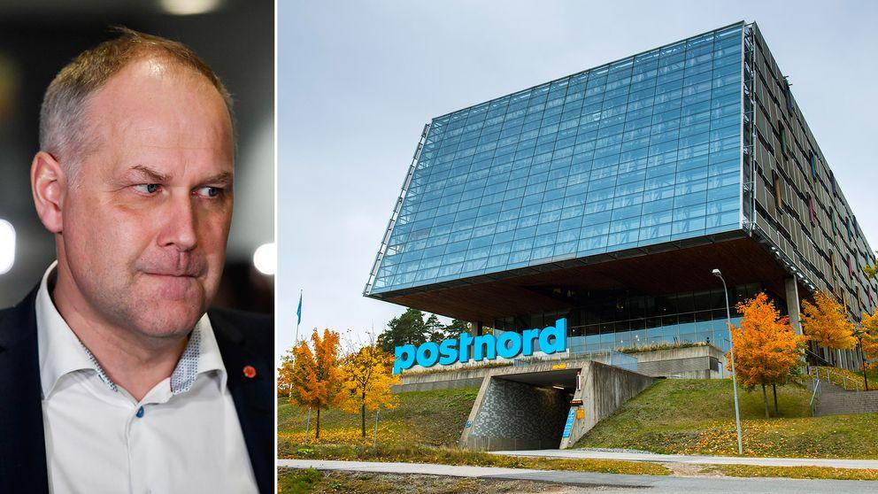 Vänsterledaren Jonas Sjöstedt anser att Postnords nuvarande kris beror på sammanslagningen mellan den svenska och danska posten.