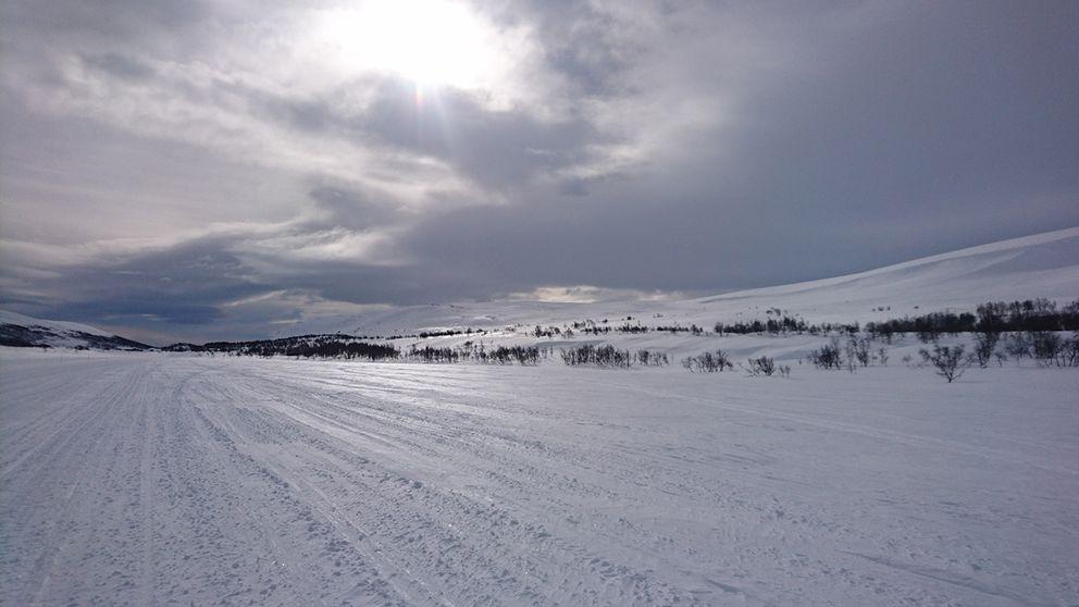 Ett vintrigt Bruksvallarna i Härjedalsfjällen.