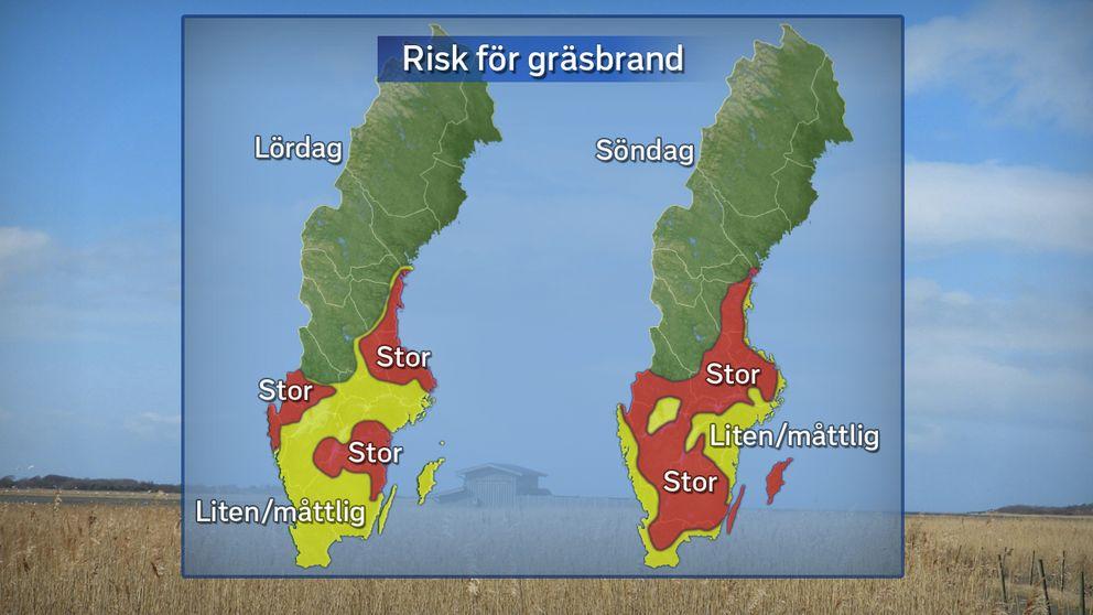 Prognos för gräsbrandsrisken under lördag 18/3 och söndag 19/3.