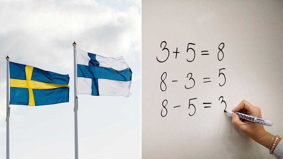 Svensk och finsk flagga. Beräkningar på vita tavlan.
