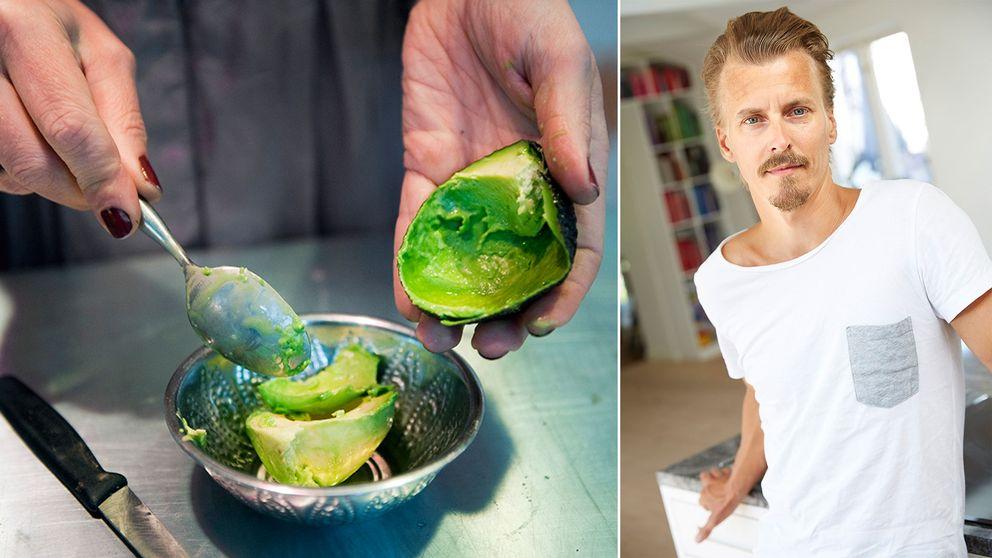 Tvådelad bild: En kvinna gröper ur en avokado och Paul Svensson i ett kök