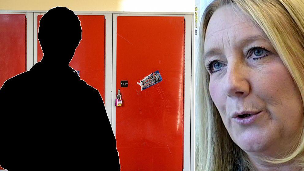 bilden är Ingela Hamlin, grundskolechef i Uppsala, och en siluett framför skåp i gymnasieskola