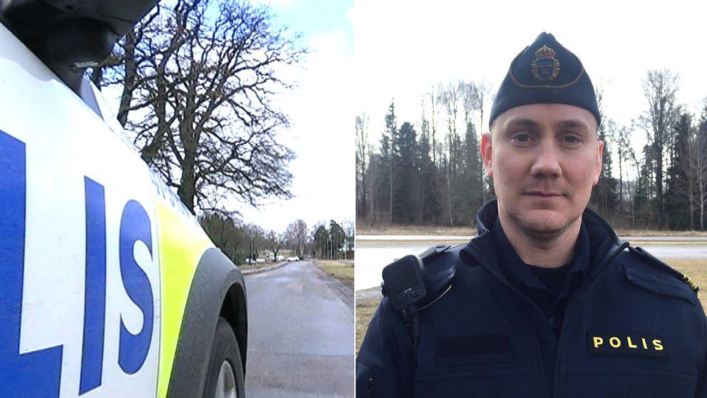 Polisbil och en polis i Eskisltuna.