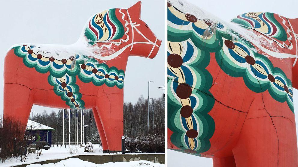 Dalahästen i Avesta har stora sprickor i sig