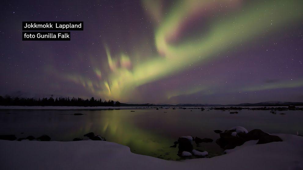 – 9 grader och norrskenet dansar över himlen, Bilden tagen vid 4 -tiden i natt i Luvos, 5 mil väster om Jokkmokk.