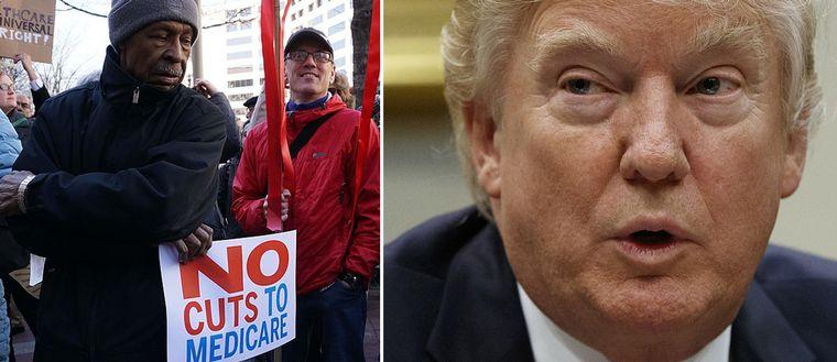 En demonstrant och Donald Trump