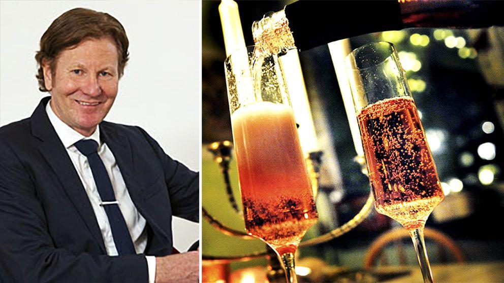 en man i kostym, glas med skumpa