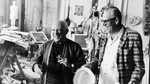 """Pablo Picasso och Theodor """"Teto"""" Ahrenberg."""